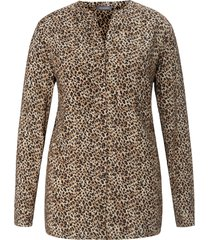 lange blouse luipaardprint van samoon beige