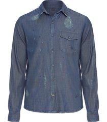 camisa masculina destroyed denim - azul