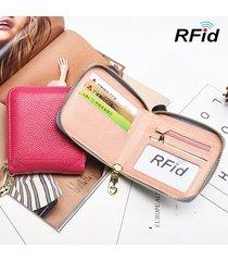 portafogli in pelle bifold per portafoglio in vera pelle rfid donna con 4 monete