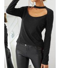 camicetta sexy per donna con scollo a manica lunga tinta unita