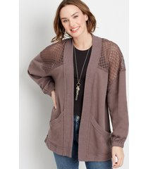 maurices womens brown crochet open front cardigan