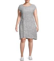 max studio women's plus striped jersey dress - grey - size 2x (18-20)