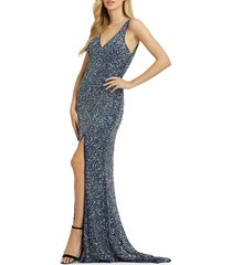 mac duggal women's sequin-embellished sheath gown - forest green - size 14
