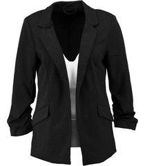 only gevoerde zwarte blazer 3/4 mouw polyester stretch