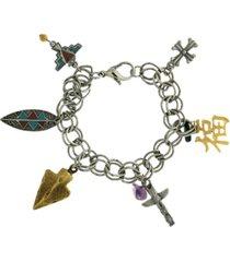 t.r.u. by 1928 silver tone pewter multi charm chain bracelet