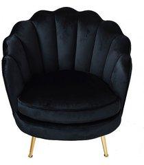 fotel welwetowy alma na złotych nóżkach black