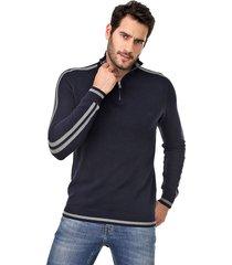 suéter colcci tricot listras azul-marinho/cinza