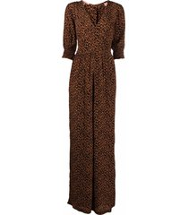 scotch & soda leopard print jumpsuit - neutrals