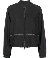 fabiana filippi bead-embellished bomber jacket - black