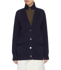 double layer suiting knit cardigan