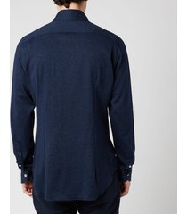 canali men's cotton herringbone sports shirt - navy - l