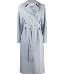 harris wharf london belted mid-length coat - blue