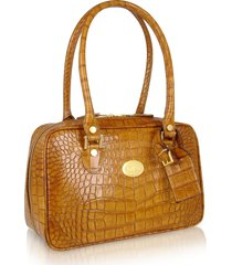 l.a.p.a. designer handbags, camel croco stamped italian leather shoulder bag