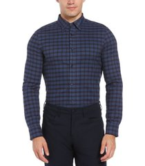perry ellis men's slim fit brushed plaid long sleeve button-down stretch shirt