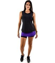 regata rich young fitness preta + shorts saia fitness roxo com preto