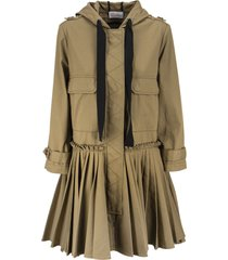 red valentino cotton gabardine pea coat with a pleated flounce