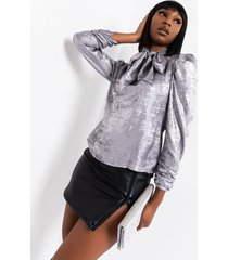 akira they call me the queen tie neck puff sleeve blouse