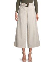 lafayette 148 new york women's rockefeller cropped wide-leg pants - raffia - size 12