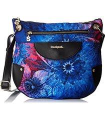 bolsa tiracolo desigual floral azul