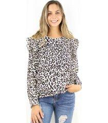 blusa juanita animal print jacinta tienda
