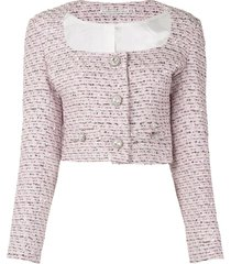 alessandra rich embroidered fitted jacket - pink