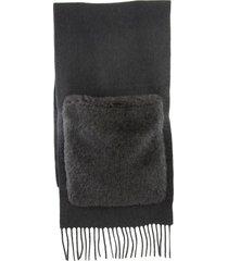 max mara wktedd3 wool teddy scarf with fur pockets