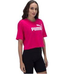 blusa cropped puma elevated essentials tee - feminina - rosa escuro
