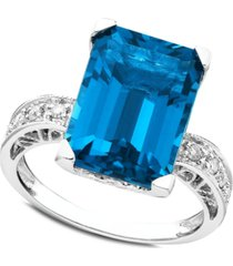 14k white gold ring, blue topaz (8-9/10 ct. t.w.) and diamond (1/8 ct. t.w.)
