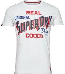 34st goods tee t-shirts short-sleeved vit superdry