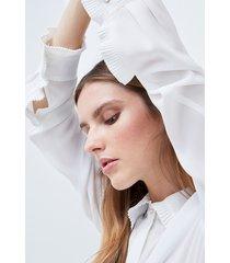 motivi camicia fluida con motivi plissé donna bianco