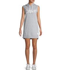 logo graphic sleeveless hoodie dress