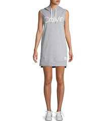 logo graphic sleeveless hoodie dress