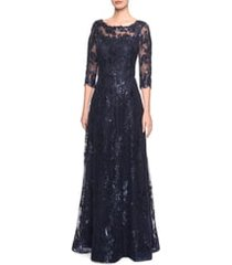 women's la femme shimmer sequin lace a-line gown