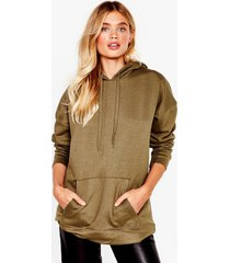 womens a big believer oversized pullover hoodie - khaki