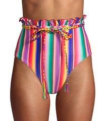 louise rainbow stripe belted bikini bottom