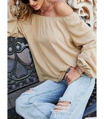 camicetta con spalle scoperte a maniche lunghe tinta unita per le donne