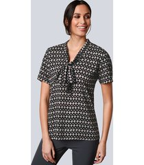 blouse alba moda zwart::roze