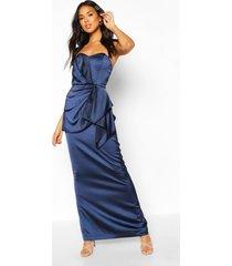 bridesmaid occasion satin pleated maxi dress, navy