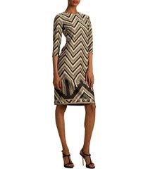 trina turk women's eastern luxe becket chevron dress - grey multi - size 6