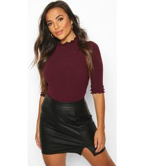 petite high neck ribbed top, berry