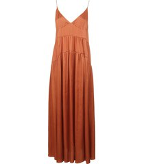 dondup sleeveless flared long dress