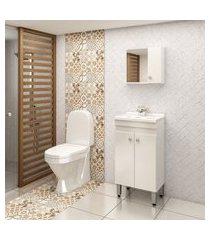 gabinete para banheiro 2 portas com espelheira lilies móveis