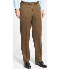 men's berle flat front classic fit wool gabardine dress pants, size 32 x unh - brown