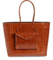 staud linda leather tote - brown