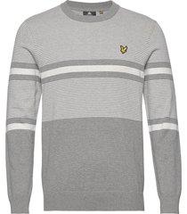 placement stripe knitted jumper stickad tröja m. rund krage grå lyle & scott