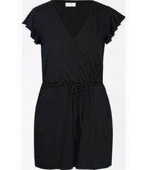 maurices womens black v neck flutter sleeve romper