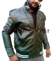 handmade new men army green rib style slim fit leather jacket, men leather jacke