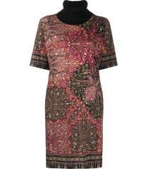 etro chunky roll neck knitted dress - pink
