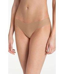 women's commando microfiber thong, size medium/large - beige