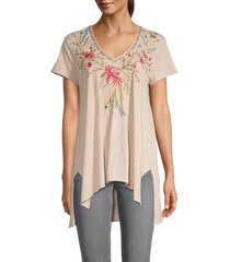 johnny was women's kaira draped floral embroidery top - macadamia - size l